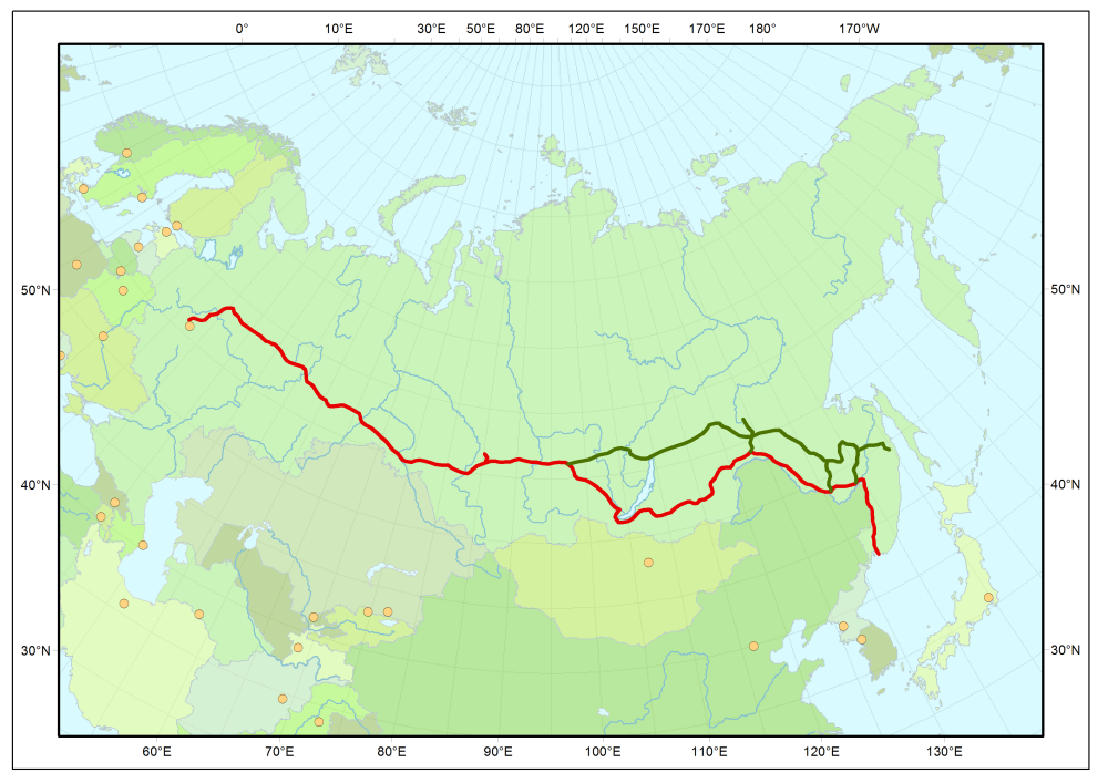 Trans-Siberian line in red; Baikal Amur Mainline in green.